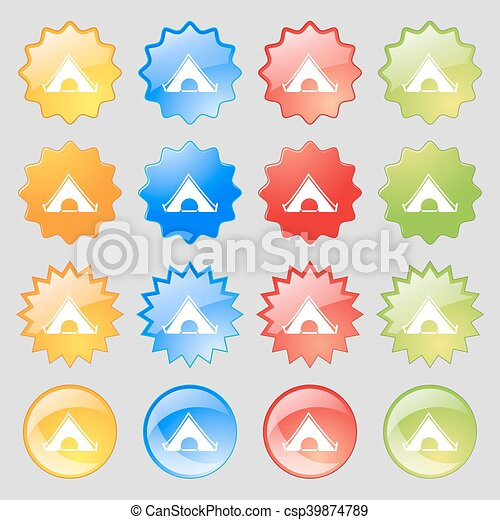 The tent icon sign. Big set of 16 colorful modern buttons for your design. Vector - csp39874789