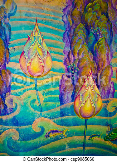 The thai art of religion on wall of temple. - csp9085060