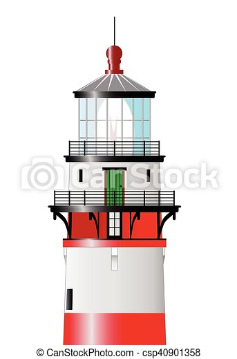 the top of the lighthouse top of a lighthouse isolated against a rh canstockphoto com Christian Lighthouse Clip Art Lighthouse Clip Art Black and White