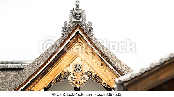 The top wooden roof detail of Japanese temple - csp33897563
