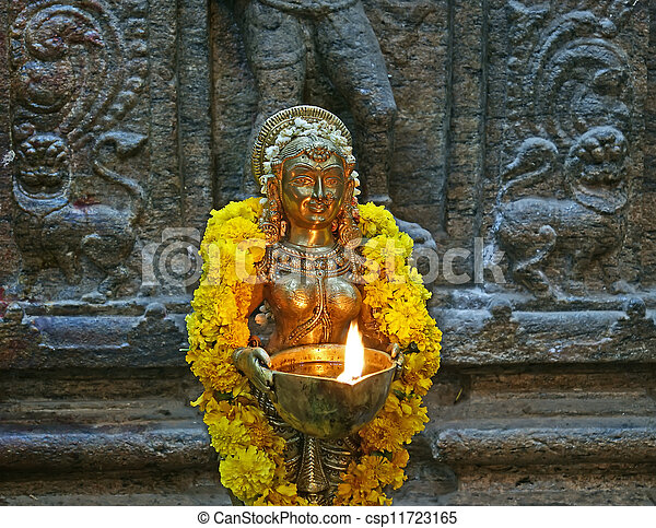 The traditional Hindu religion sculpture. Inside of Meenakshi hindu temple in Madurai, Tamil Nadu, South India. - csp11723165