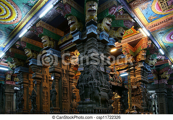 The traditional Hindu religion sculpture. Inside of Meenakshi hindu temple in Madurai, Tamil Nadu, South India. - csp11722326