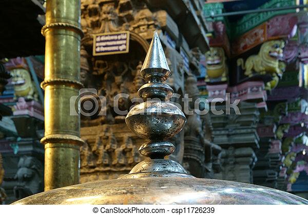 The traditional Hindu religion sculpture. Inside of Meenakshi hindu temple in Madurai, Tamil Nadu, South India. - csp11726239
