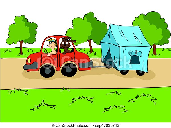 The trailering. Driver with a dog ride in the car with a tent on the trailer. Cartoon vector illustration. - csp47035743