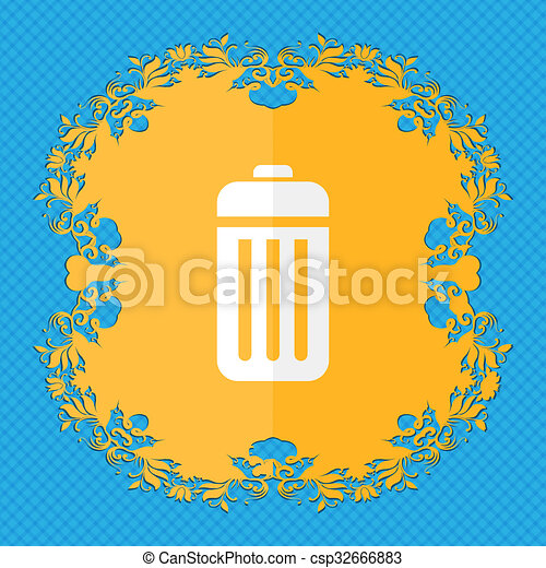 The trash. Floral flat design on a blue abstract background with place for your text.  - csp32666883