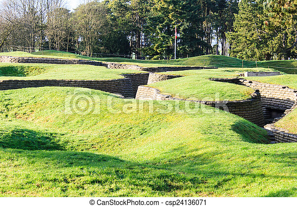 The trenches and craters on battlefield of Vimy ridge - csp24136071