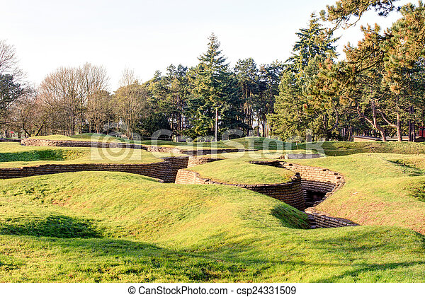 The trenches and craters on battlefield of Vimy ridge - csp24331509