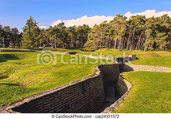 The trenches on battlefield of Vimy ridge France - csp24331572