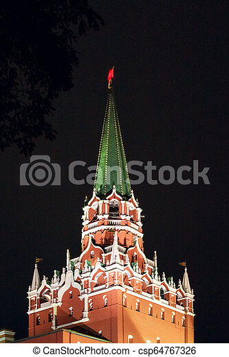 The Trinity Tower of Kremlin in red square, Moscow, Russia - csp64767326