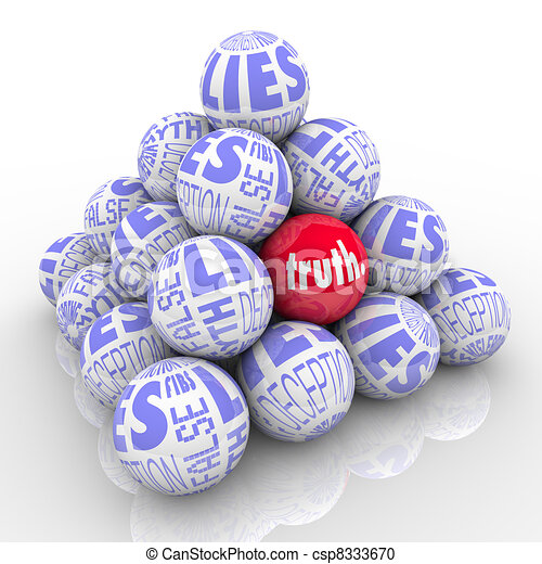 The Truth Hidden Among Lies Pyramid of Stacked Balls - csp8333670