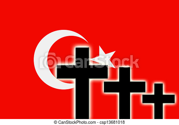 the turkish flag and the silhouettes of tombstones crosses