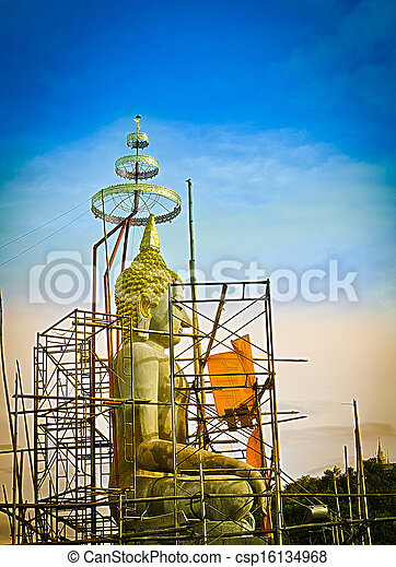 The Under Construction of Seated Buddha Image in Attitude of Subduing Mara. - csp16134968