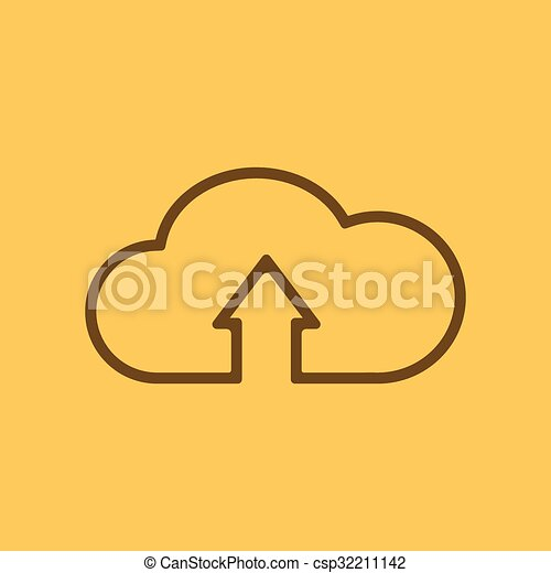 The upload to cloud icon. Download symbol. Flat - csp32211142