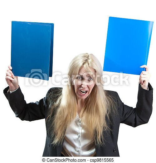 The upset business woman with folders - course falling in the market