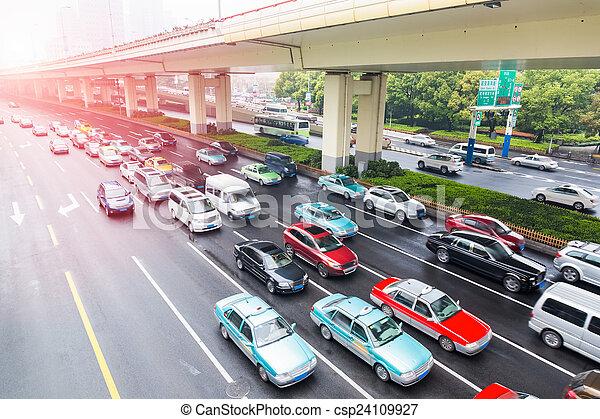 the urban traffic rush hour - csp24109927