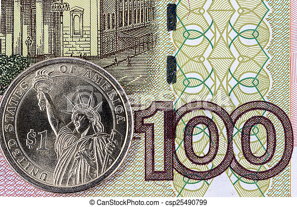 The US dollar and a hundred rubles - csp25490799