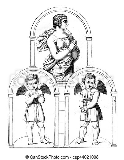 The Vatican, vintage engraving. - csp44021008
