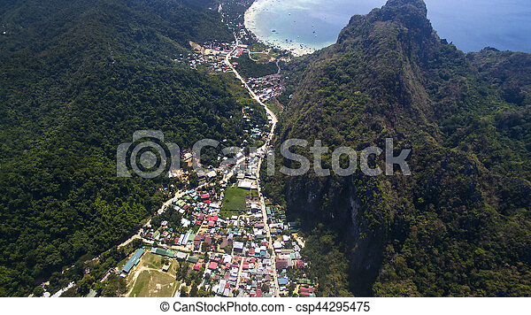 The Village Of El Nido Palawan Island Philippines With A Height Of 400 Meters