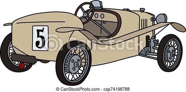 The vintage beige racecar - csp74198788