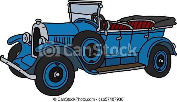 The vintage blue cabriolet - csp57487936