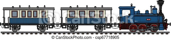 The vintage blue personal small steam train - csp67718905