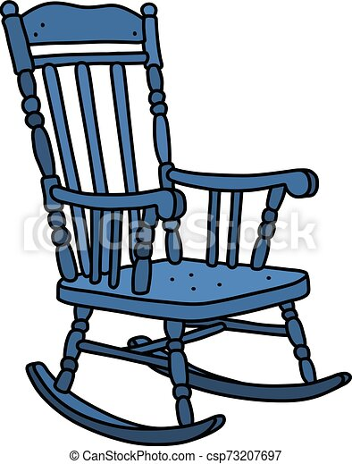 The vintage blue rocking chair - csp73207697
