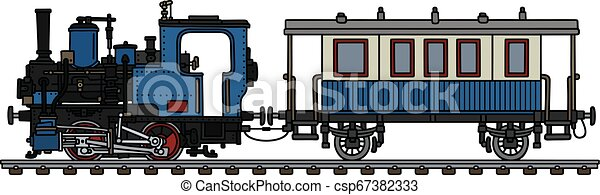 The vintage blue small steam train - csp67382333