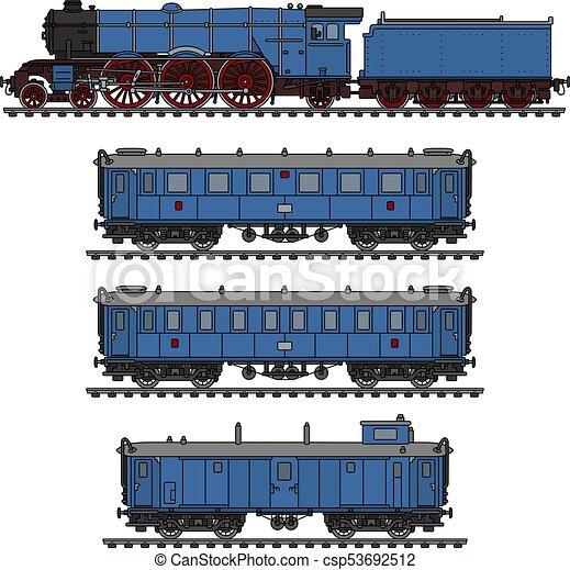 The vintage blue steam train - csp53692512