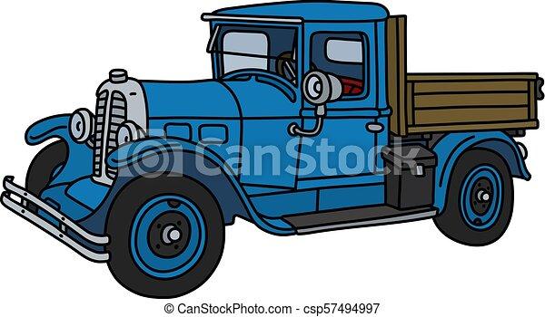 The vintage blue truck - csp57494997
