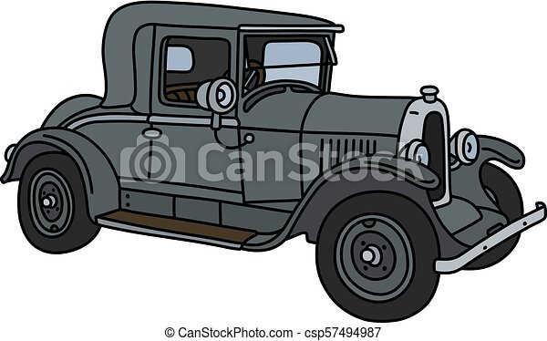 The vintage gray coupe - csp57494987