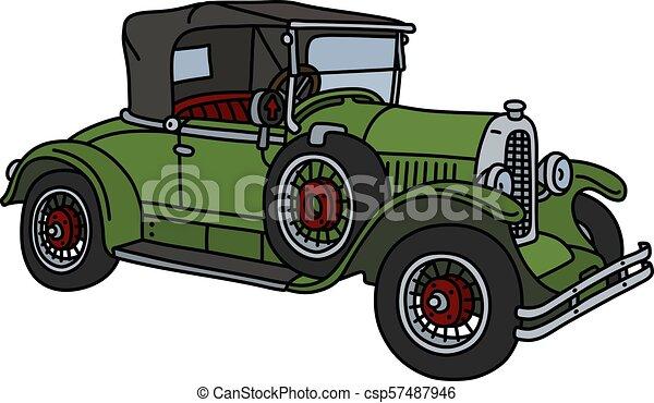 The vintage green cabriolet - csp57487946