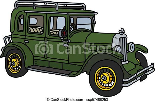 The vintage green car - csp57488253