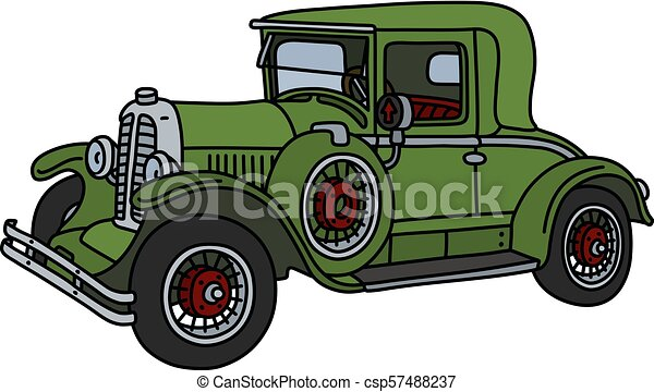 The vintage green car - csp57488237