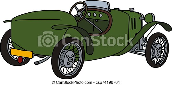 The vintage green roadster - csp74198764