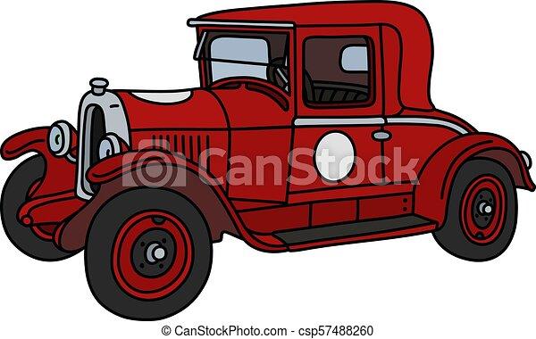 The vintage red racecar - csp57488260