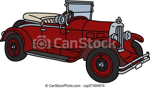 The vintage red roadster - csp57494974