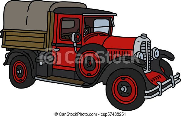 The vintage red truck - csp57488251