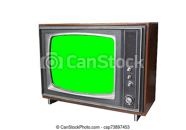 the vintage television with chroma green screen. - csp73897453