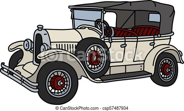 The vintage white cabriolet - csp57487934