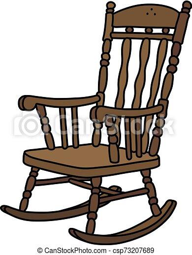 The vintage wooden rocking chair - csp73207689