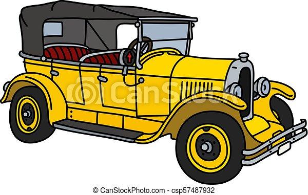 The vintage yellow cabriolet - csp57487932