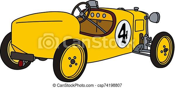 The vintage yellow racecar - csp74198807