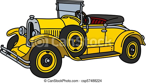 The vintage yellow roadster - csp57488224
