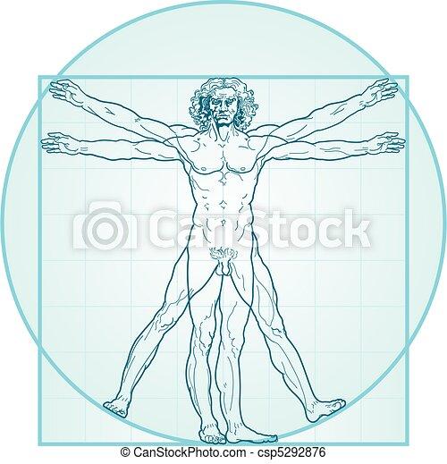 The Vitruvian man (Aqua-Air version) - csp5292876