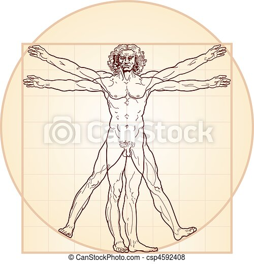 The Vitruvian man (Homo vitruviano) - csp4592408