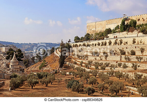 The Wall of the Old City of Jerusalem, Israel - csp88349826