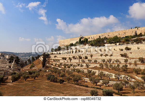The Wall of the Old City of Jerusalem, Israel - csp88349732