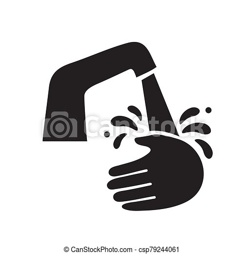 The wash hands silhouette icon is black on a white isolated background. Vector image - csp79244061