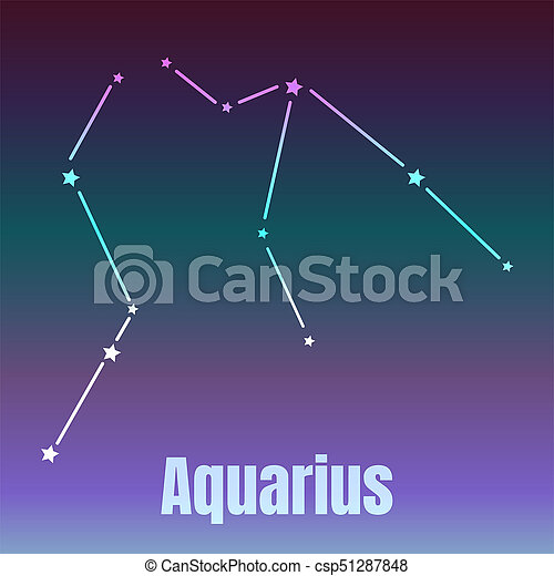 The Water Bearer Aquarius Sing Star Constellation Element Stock
