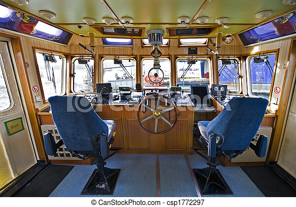The wheelhouse of a fire boat - csp1772297